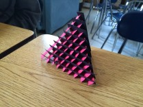 A sliceform tetrahedron created by Cole and Joel!