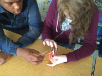 KT and Dawshawn struggled to put their sliceform together!