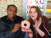 VICTORY! Katie and Dashawn successfully put together a sliceform torus.