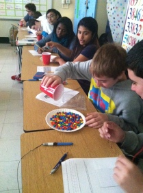 Students use M&Ms to study exponential decay!